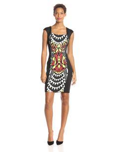 Cap Sleeve Aztec Printed Sheath Dress by Sangria