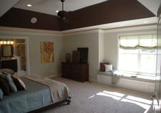 Another view of 3 Pillar Homes master bedroom.  Re-furnished dresser and custom pillows.
