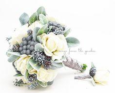 Winter Wedding Grey & White Bridal Bouquet Brunia Eucalyptus