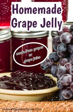 Homemade Grape Jelly Recipe - Made With Fresh Grapes or Juice - Grape Recipes Grape Jelly Recipe No Pectin, Homemade Grape Jelly, Best Grape Jam Recipe, Concord Grape Recipes, Concord Grape Jelly, Concord Grape Juice Recipe, Jelly Recipes, Jam Recipes, Canning Recipes