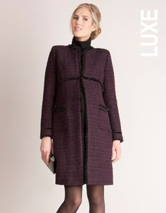 <ul> <li>Wool tweed bouclé with a touch of sparkle</li> <li>Long-line cut</li> <li>Frayed trim & black velvet ribbon detailing</li> <li>Defined empire line</li> </ul> <p> This piece has been designed to wear before, during and after pregnancy; however for customers not requiring a maternity fit, we recommend ordering one size down to give a more tailored look</p> <p>Designed in Séraphine's London based studio and worn by the Duchess of Cambridge, the MARINA maternity coat is made in a…