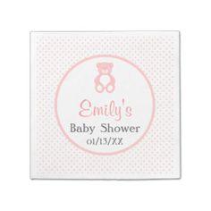 Teddy Bear Girl Baby Shower Paper Napkins Standard Cocktail Napkin