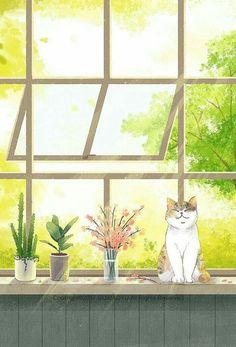 New Wallpaper Cat Artworks 40 Ideas Art And Illustration, Illustrations, Kawaii Wallpaper, Cat Wallpaper, Trendy Wallpaper, Smile Wallpaper, Anime Kunst, Anime Art, Posca Art