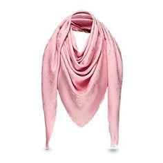 Louis Vuitton LOUIS VUITTON Shawl Pink Silver Monogram Lurex Shine AUTHENTIC