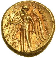 Seleukid Kingdom. Seleukos I Nikator. Gold Stater (8.5 g), 312-281 BC. Babylon I, in the name of Alexander III. Ca. 311-BC. Head of Athena right, wearing crested Attic helmet decorated with coiled serpent. Reverse BA-ΣIΛ[EΩΣ] AΛEΞANΔP[OY], Nike standing facing, head left, holding wreath and stylis; in left field, monogram within wreath; in right field, HP monogram. Cf. SC 81.9 (sphinx on helmet)