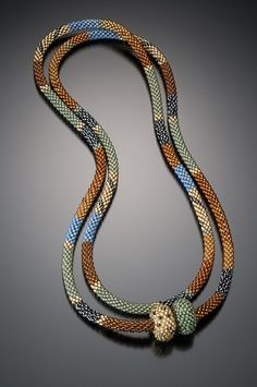 Bead Crochet Necklace. Seed Beads and Beaded Bead Clasp, By Lynne Sausele