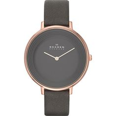 Skagen Ditte Watch Women's ($145) ❤ liked on Polyvore featuring jewelry, watches, fashion accessories, grey, analog watches, analog wrist watch, skagen jewelry, dial watches and water resistant watches