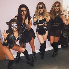 "Girl groups basically started the concept of ""squad goals."" The women of Little Mix are just kicking it up a notch with their KISS-inspired group costume.  #refinery29 http://www.refinery29.com/2015/10/96704/best-celebrity-halloween-costumes-2015#slide-39"