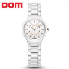US $113.80 - DOM fashion brand simple style women rhinestone watches fashion elegant ceramic 30M dive quartz watch women wristwatch