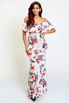 f97ee433cb4 Off Shoulder Floral Maxi Dress Hobo Handbags