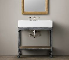 floating industrial media console | Dutch Industrial Console Washstand