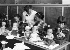 Sewing class at school, possibly German, as all the dolls are a German make ?
