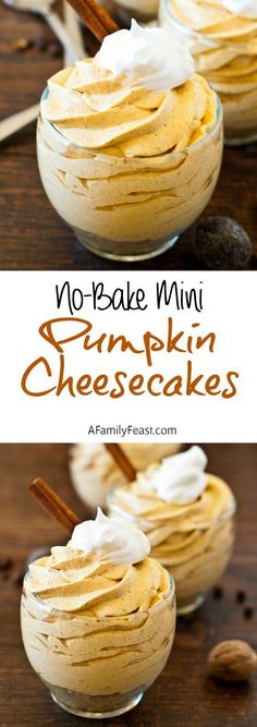 Mini Pumpkin Cheesecakes No Bake Mini Pumpkin Cheesecakes - So simple to make and so delicious! (There's a good reason this recipe has been pinned over times!)No Bake Mini Pumpkin Cheesecakes - So simple to make and so delicious! Oreo Dessert, Pumpkin Dessert, Pumpkin Pumpkin, Pumpkin Spice, Vegan Pumpkin, Pumpkin Foods, Dessert Shots, Fall Desserts, Just Desserts