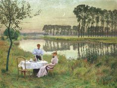 Emile Claus (1849 – 1924) BELGIAN SOIRÉE D'ÉTÉ signed Emile Claus lower right; signed with initials and dated Augustus 1895 on the reverse oil on canvas 98 by 131cm., 38½ by 51½in. Sotheby's