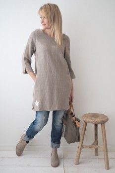 CLASSIC STAR Linen Tunic, NATURAL 50 Fashion, Autumn Fashion, Stitch Fit, Linen Tunic, Linen Dresses, Natural Linen, Tunic Tops, Stars, Classic