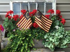 Americana old window flower box