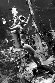 Vintage SCUBA Wreck-Diving Photographer unknown  #vintage #SCUBA