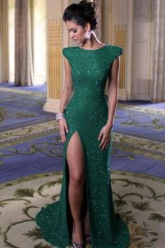 Emerald long evening dress