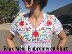 Faux Mexi-Embroidered Shirt using Puffy Paint! Fabric and Craft Stores Puffy Paint Shirts, Mexican Shirts, Mexican Crafts, Altered Couture, Embellished Top, T Shirt Diy, Fabric Painting, Dot Painting, So Little Time