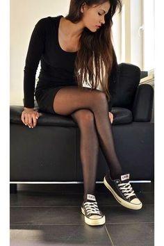 •Black Dress •Black Panty Hose • Black Converse