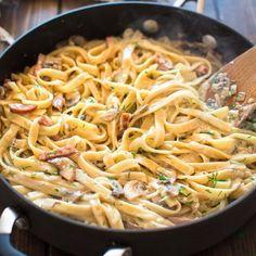 Pasta with Mushrooms and Kielbasa