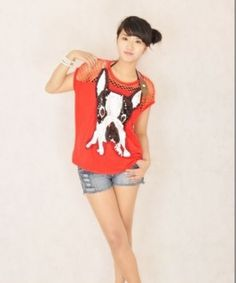 8f52df5e7f Cute Dog Printed Hollow Out Loose T-Shirt Red. This is an immense love