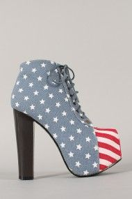 Leah-100 American Flag Lace Up Platform Booties. Just bought a pair of these babies on Urbanog.com!