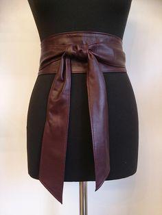 365d7d2e11c2 Burgundy red wine burdeaux soft real leather obi belts sash belts tie belts  wrap around wide belts handmade 2018-2019 colour trends