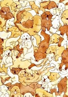 Soft and warm Golden Retriever wallpaper pattern. Dog Illustration, Illustrations, Whatsapp Wallpaper, Dog Pattern, Totoro, Dog Art, Pattern Wallpaper, Cute Wallpapers, Iphone Wallpapers