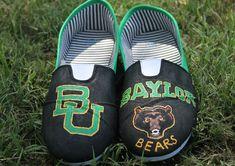 Hand-painted Baylor Bears BU shoes