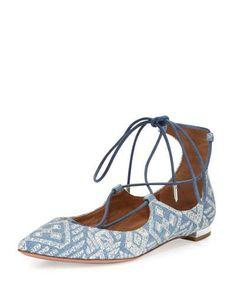 Christy Embroidered Denim Flat, Light Blue by Aquazzura at Bergdorf Goodman.