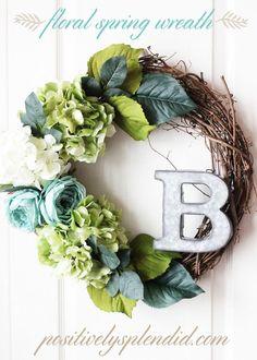 DIY Floral Spring Wreath Tutorial at Positively Splendid - a great decor idea!