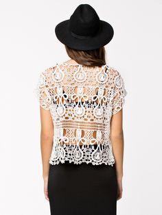 """Кружевной топ """"Клеопатра"""". Имитация вязания крючком. Идея для вязания. ONLY Cleopatra Short Top #Machine_made_crochet #lace_top #ideas_for_crochet"""