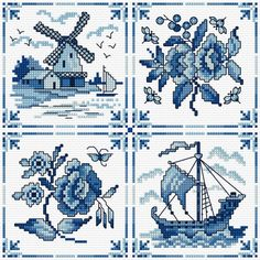Blue and white tiles in cross -Cross Stitch CRAZY magazine, issue 215 - Delft - stichlesleyteare.com