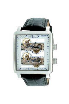 Dual Time Mechanical Skeleton Strap Watch by Akribox XXIV via jackthreads.com