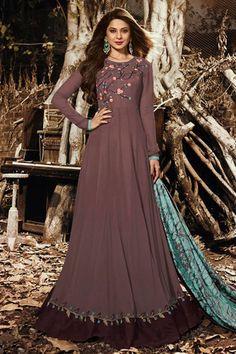 Get Jennifer Winget Brown Color Silk Designer Suit latest designer party wear salwar suits, wedding wear anarkali dress for women at VJV Fashions. Lace Anarkali, Anarkali Suits, Indian Anarkali, Silk Dupatta, Pakistani, Anarkali Bridal, Heavy Dupatta, Georgette Fabric, Punjabi Suits