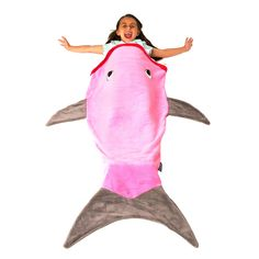 Mermaid tail blankets, shark blankets, and other award-winning blanket designs from Blankie Tails! Sizes for toddlers, kids, and adults. Shark Tail Blanket, Mermaid Tail Blanket, Mermaid Tails, Pink Shark, Kids Gadgets, Pink Grey, Gray, Minky Fabric, Kids House