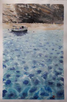 Painted pleinair in Corfu by Claudia Araceli Seascape Paintings, Watercolor Paintings, Watercolour, Arts And Crafts For Teens, Skyline Design, Ocean Art, Urban Landscape, The Great Outdoors, Corfu