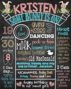 Some Bunny Is One Birthday Chalkboard Poster Sign First Birthday Bunny Some Bunny Is Turning One by ChalkingItUpBoards