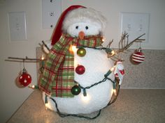 Snowmen decorations. My husband gets me a new one every Christmas...i don't know...there's just something about snowmen!!
