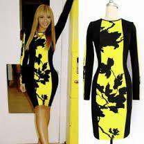 Resultado de imagen de vestido ajustado verde y amarillo