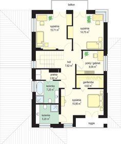 Projekt domu Kasjopea 7 175,95 m² - koszt budowy - EXTRADOM Duplex House Design, House Plans, Floor Plans, How To Plan, Kurti, Gallery, Houses, Poland, Roof Rack