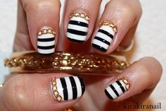 Fashion Inspired Nails: Stripes and Chunky Necklace
