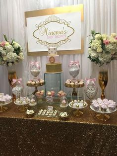 A delicious display of yumminess!  #babyshower #candybar #dessertbar #babygirl #partyplanning #eventplanning