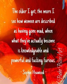 Midlife Quote: The older I get, the more I see how women are described as having gone mad. Quote W Quote Wall, Wall Art Quotes, Got Quotes, Life Quotes, Home Design, The Older I Get, Empowerment Quotes, Print Store, Has Gone