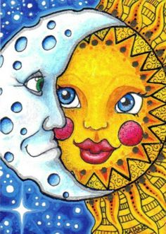 ACEO Celestial Sun and Moon by MandarinMoon, via Flickr