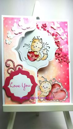 """Lovely greeting Card """"For You"""" - Designerpaper """"Calendar Girl""""  BoBunny; """"Playful Kitten"""" Whimsy Stamps; Flower die Butterflies Leabilities """"Small Butterflies and Flowers"""" Leane Creatief; Card die Framelits """"Regal Flip-its"""" Sizzix; Colored with TwinklingsH2O; Glitter paper Rayher; Butterflies on the inner layer """"Butterfly Cascade"""" Wild Rose Studio; Sentiment Scrapberry's"""
