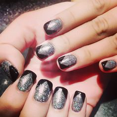 Nails , nail art with shellac , gel color , glitter design
