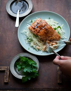 Asian Glazed Salmon Recipe with Sake and Soy Sauce / White on Rice