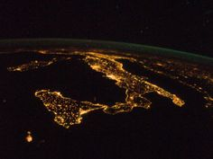 This oblique, night time panorama of much of Europe was photographed by one of the Expedition 32 crew members aboard the International Space Station flying approximately 240 miles above the Mediterranean Sea on Aug. 18, 2012.